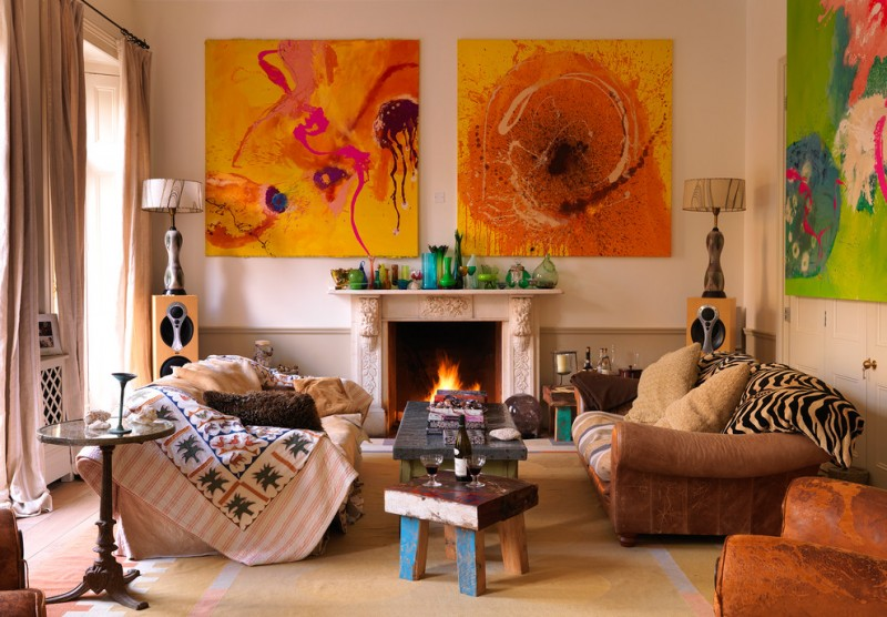 mission style living room tribal artwork fireplace couches wood table sidetables slipcover lamps stereo eclectic design