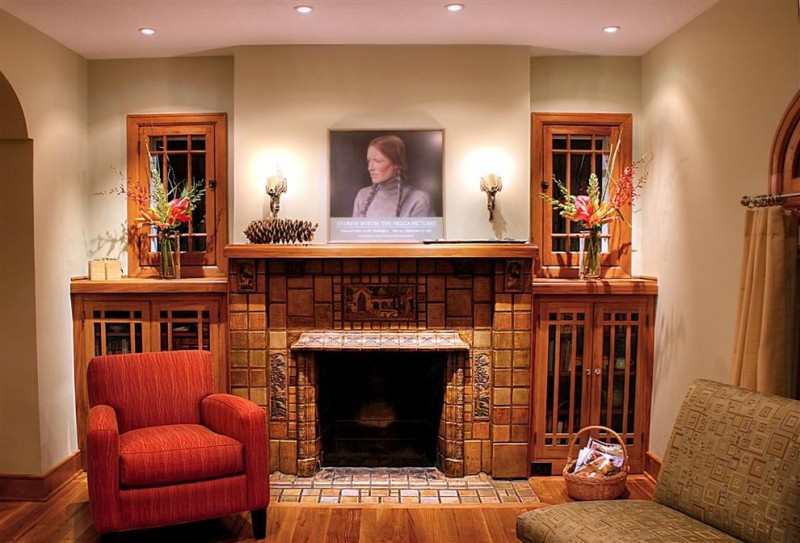 Mix Contemporary Mission Style Living Room With Fireplace Recessed Storage Two Couches In Red And