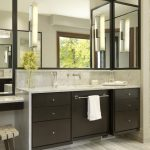 Modern Bathroom With Dark Wooden Cabinet, With Towel Bar, Grey Marble Top, White Sink, Large Corner Mirror
