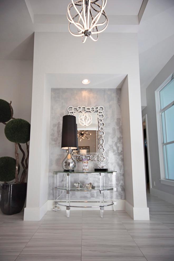 modern entryway table lamp chandelier decorations pot beige floors windows modern design
