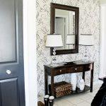 Modern Entryway Table Lamps Wallpaper Ceramic Floors Door Drawers Mirror Rug Decorations Contemporary Design