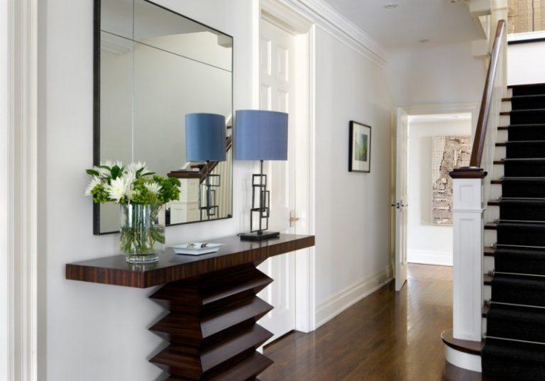 Modern Entryway Table Stairs Railing Hardwood Floors Lamp Mirror Gl Vase Door Framed Painting Transitional Design