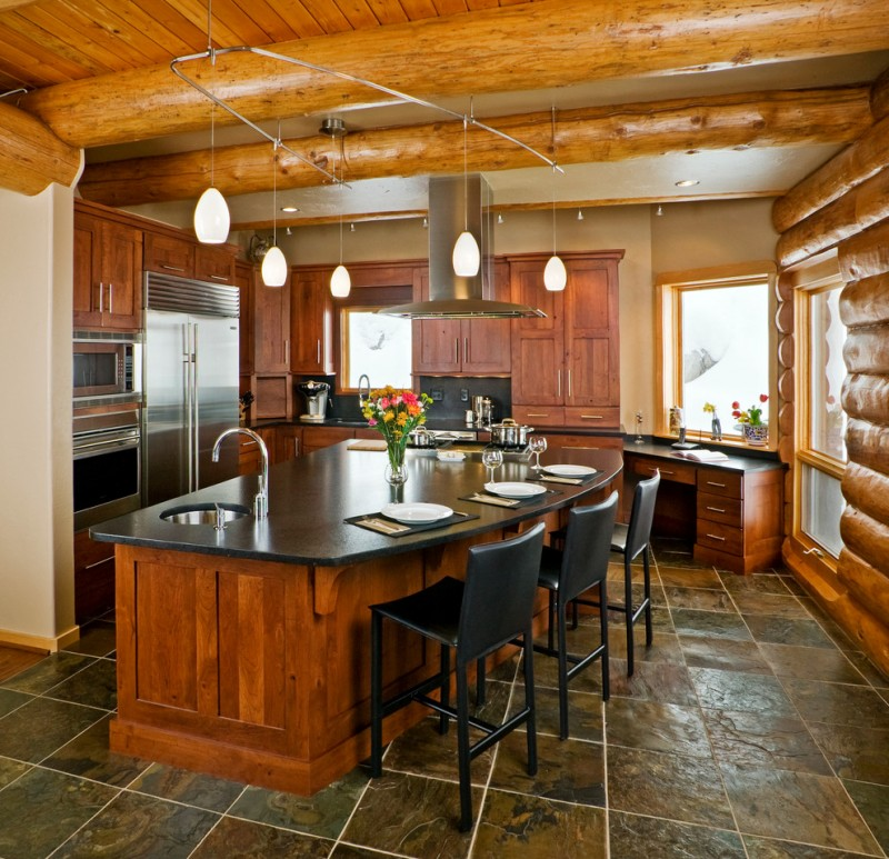 Great Room Kitchen With Large Island: Brilliant Mountain Home Floor Plans To Apply