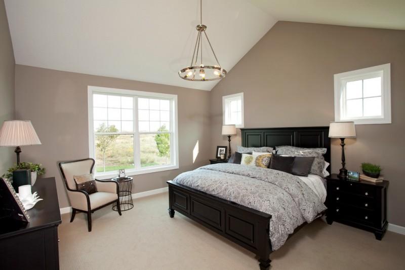 nate berkus furniture double bed sidetables armchair pendant sideboard beige floor windows lamps traditional design