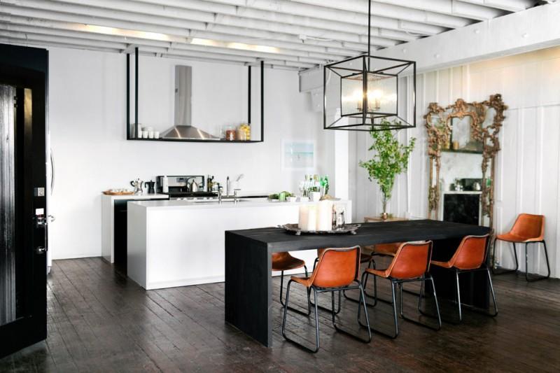 nate berkus furniture light pendant dining table chairs hardwood floors island sink stainless steel hood decorative mirror door beach style
