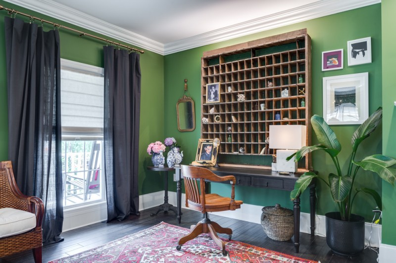 office decor ideas for work carpet chairs curtains plant flowers shelves desk lamp mirror eclectic home office