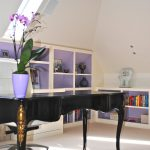 Office Decor Ideas For Work Flowers Shelves Books Dark Table Chair Contemporary Home Office