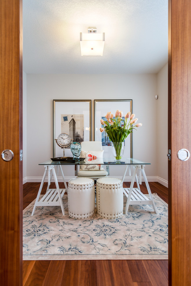 office decor ideas for work wood floor carpet desk chair wall decor flowers cool lamp transitional home office