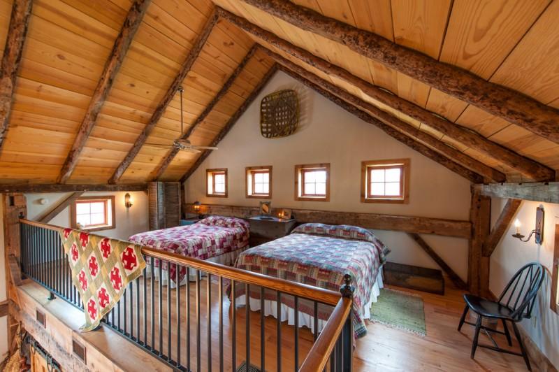 one bedroom cabin plans beds chairs light fixtures railing windows ceiling fan sidetable hardwood floors rugs rustic design