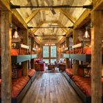 one bedroom cabin plans bunk beds hardwood floors ceiling fans sofa couches sidetable chandelier rustic design