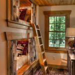 One Bedroom Cabin Plans Hardwood Floors Carpet Bunk Beds Stairs Drawers Cabinet Lamp Window Rustic Design