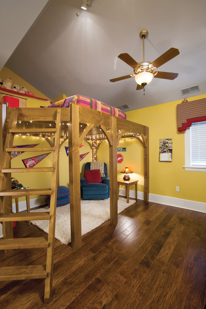 one bedroom cabin plans loft bed hardwood floors stair string lights ceiling fan couch ottoman window side table traditional design