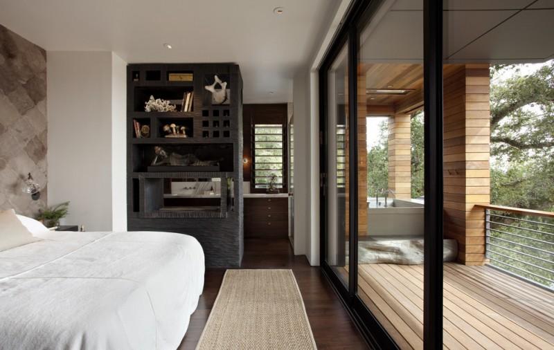 one bedroom cabin plans white bedding deck cabinet hardwood floors sink metal railing sidetable screen panels rug contemporary design