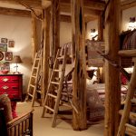 one bedroom cabin plans wood fixture lofted beds stairs armchair cabinet decorations lamps rustic design