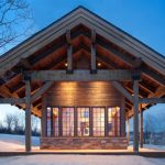 One Story Wooden Vacation Home Rustic Exterior Wooden Floor Wooden Deck Wall Glass Windows