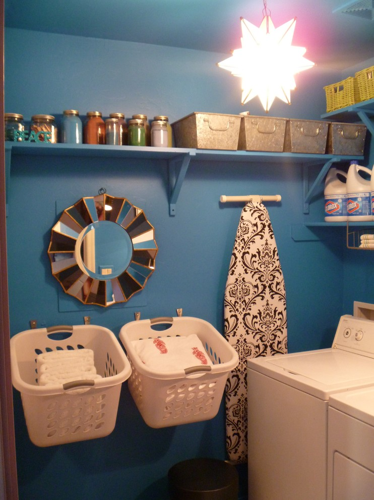 organization ideas for small spaces wall hooks hanging shelves baskets blue walls