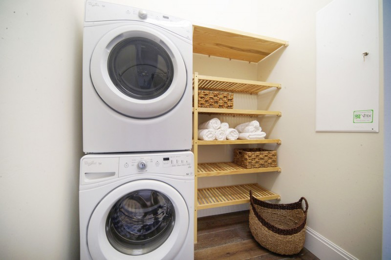 organization ideas for small spaces wood shelves nook washer hardwood floor basket beach style