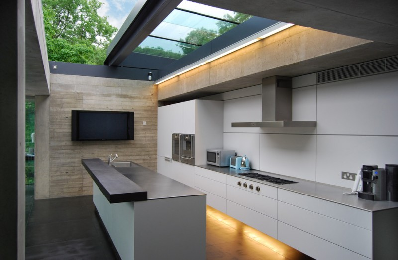 outside kitchen design stove impressive lighting island faucet sink wall tv contemporary style