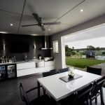 Outside Kitchen Design Table Chairs Stove Small Fridge Ceiling Lights Faucet Sink Contemporary Patio