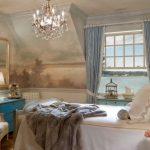 Paris Inspired Bedroom Bed Pillows Chair Lamps Window Curtains Mirror Cool Wall Chandelier Traditional Style Room