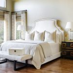 Paris Inspired Bedroom Bed Pillows Windows Curtains Bedside Tables Lamps Bench Traditional Style Room