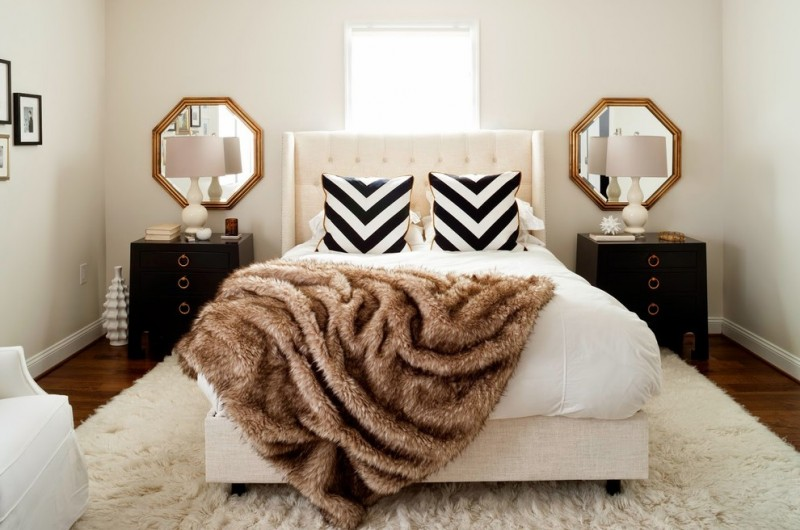paris inspired bedroom carpet wood floor mirrors bed pillows blanket bedside tables lamps window tufted headboard transitional room