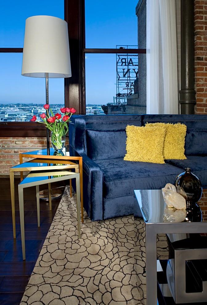 penthouse in los angeles carpet dark floor tables window flowers lamp pillows curtain modern living room