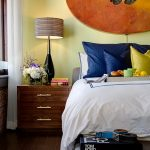penthouses in los angeles bed pillows books drawers flowers lamp curtain modern bedroom