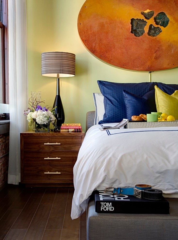 penthouse in los angeles bed pillows books drawers flowers lamp curtain modern bedroom