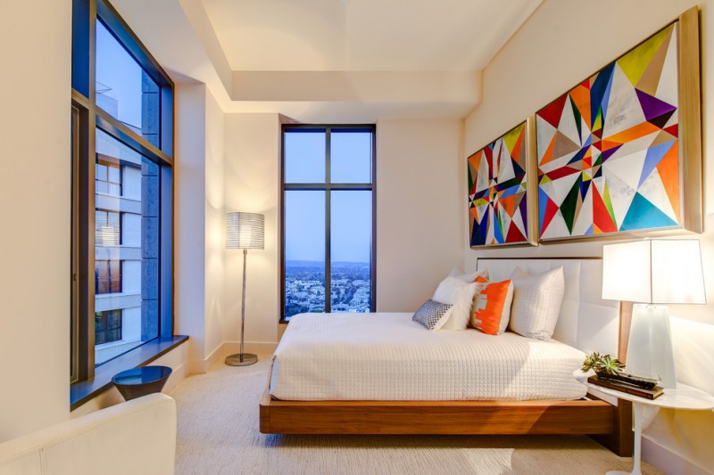 penthouses in los angeles bed pillows wall decor windows table contemporary bedroom