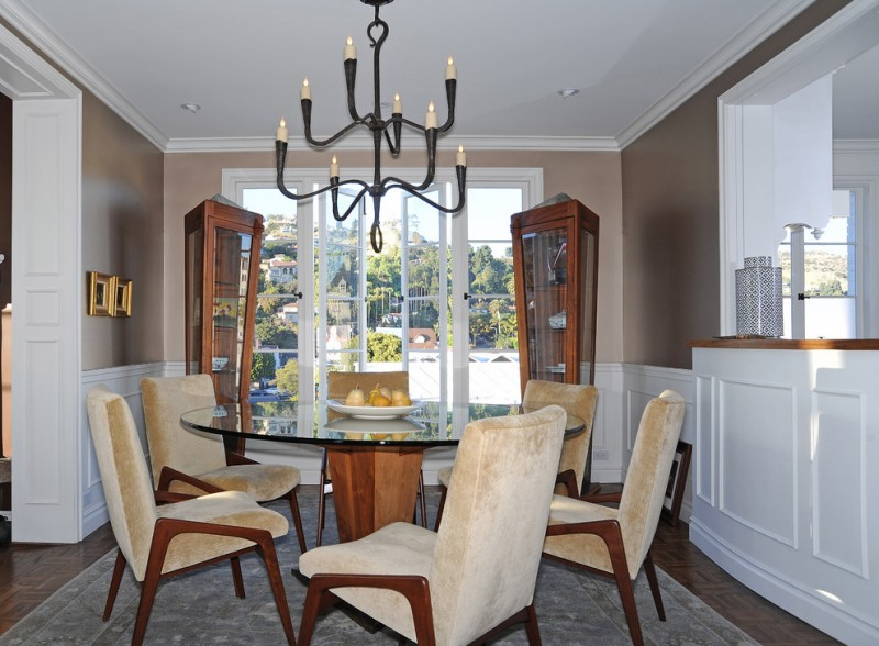 penthouses in los angeles carpet chairs round top table chandelier transitional dining room