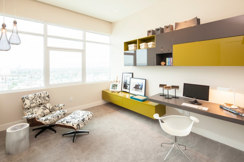 penthouses in los angeles cool lamps chair big windows shelf tv contemporary home office