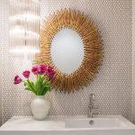 Penthouses In Los Angeles Flowers Cool Mirror Lighting Faucet Sink Midcentury Powder Room