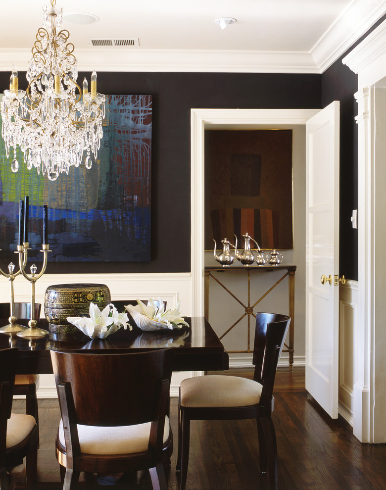 penthouses in los angeles wood floor chairs table chandelier painting traditional dining room