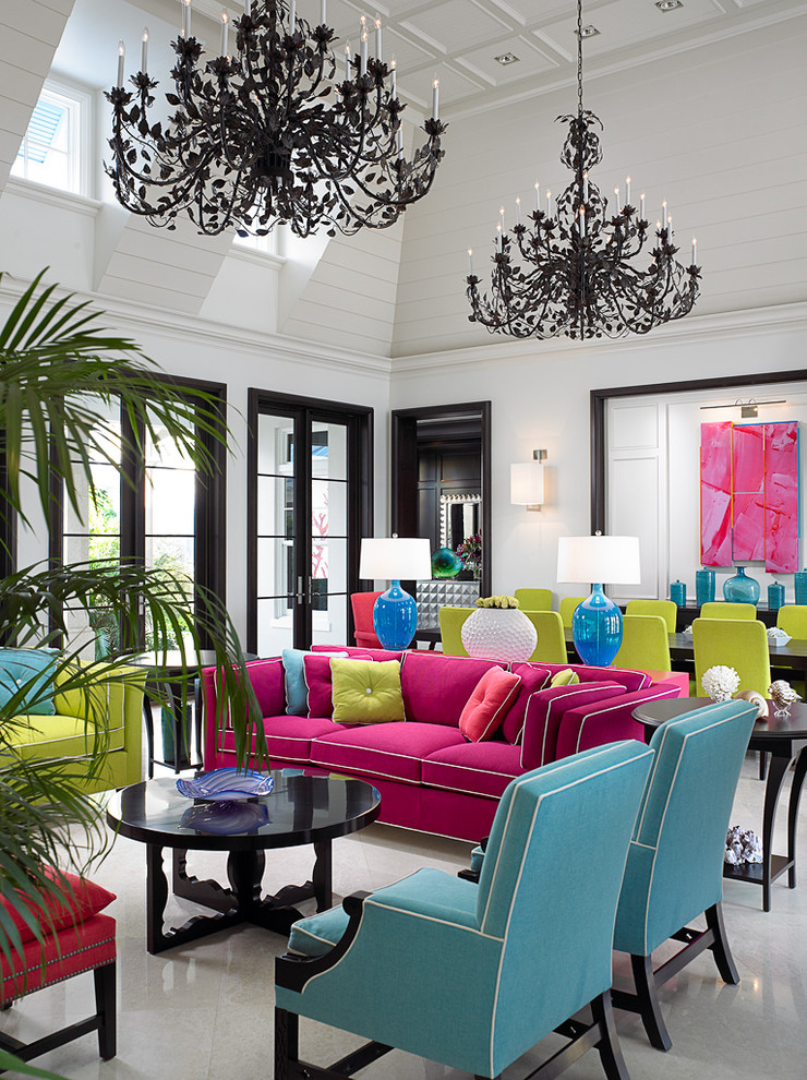 popular colors for living rooms chandeliers dining table sofa chairs sidetables lamps sconce artwork double glass foors tropical design
