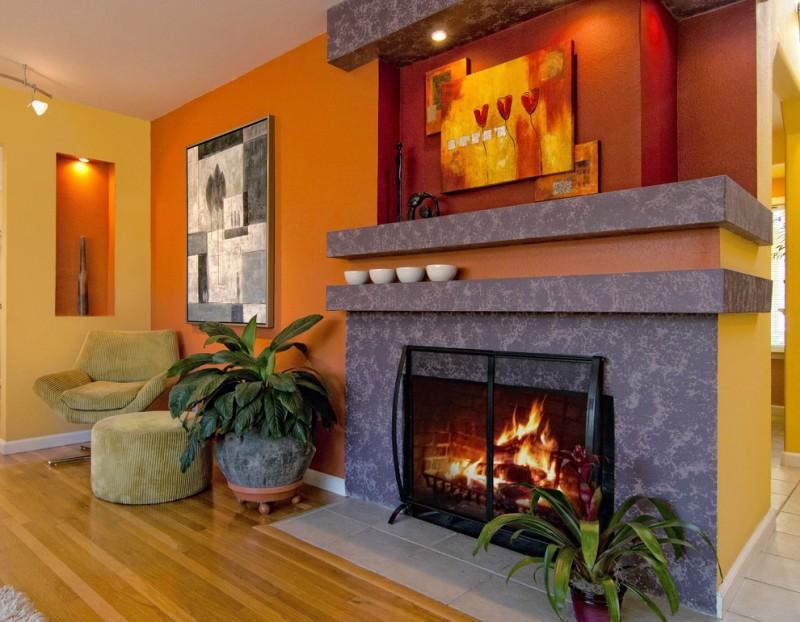 popular colors for living rooms fireplace chair otroman ceiling lights hardwood floors artworks plant pot contemporary design