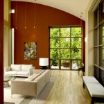 Popular Colors For Living Rooms Hardwood Floors Column Window Couch Sofa Bench Artwork Glass Top Table Lamp Contemporary Design