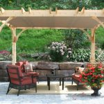 Red Cedar Pergola For Patio With Red Furniture Wood Toned Area Rug