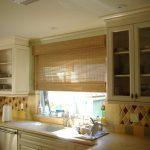 Roman Shades Outside Mount Bamboo Shade Kitchen Window Colorful Backsplash Glass And Wood Kitchen Cabinet