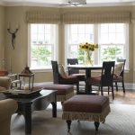 Roman Shades Outside Mount Thomas Pheasant Woven Core Dining Side Chair Dining Table Couches Ottoman Bright Grey Rug Black Wooden Table