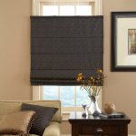 Roman Shades Outside Mount Top Down Bottom Up Roman Shade Black And Grey Patterned Shade Cream Couch Wooden Side Table Frame Decor Nice Ceramic Floor