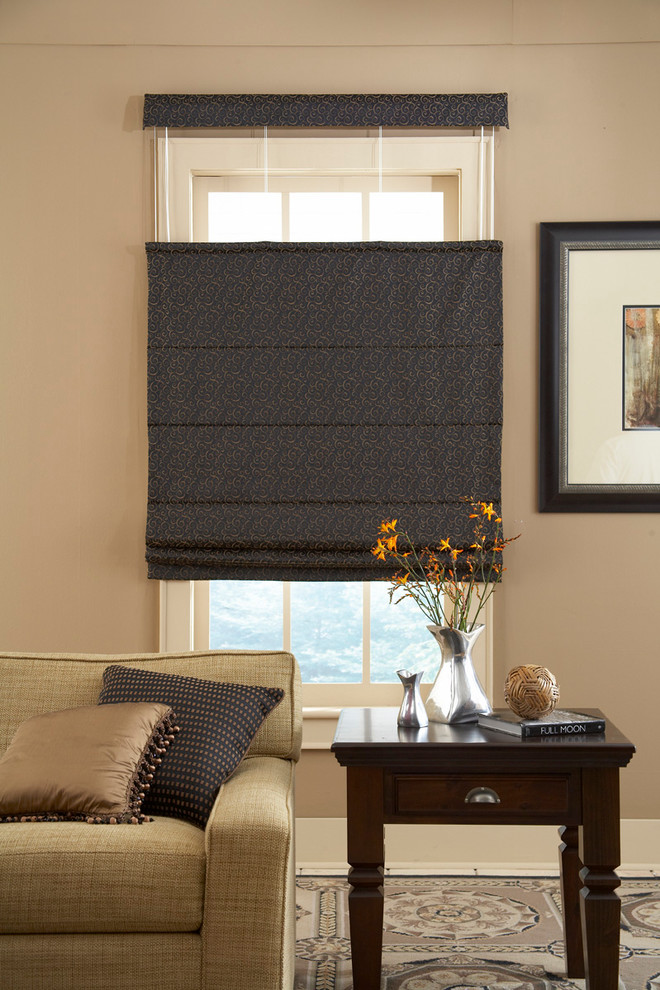 Roman Shades Outside Mount Top Down Bottom Up Shade Black And Grey Patterned Cream