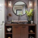 Round Wall Mirror Grey Wall Pendant Lights Granite Sink Bathroom Wooden Cabinet Open Shelves Flower Arrangement