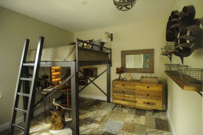 rustic teen room with beige walls wooden floating shelves rustic cabinet black painted loft bed multi color ceramic floors wooden table and chair