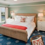 Simple White Bed Skirt With Red Bed Scarf And White Shams Woven Bed Frame With Headboard White Bedside Tables Blue Linen Made Area Rug With White Motifs