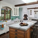 Spanish Tile Backsplash Thermador Electric Single Wall Oven Wooden Kitchen Island With White Granite Traditional Barstools Kitchen Pendants
