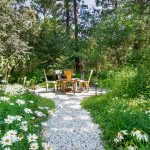 Stone Pathway White Flowers Trees Water Lily Barbeque Space Outdoor Dining Space Wooden Dining Space