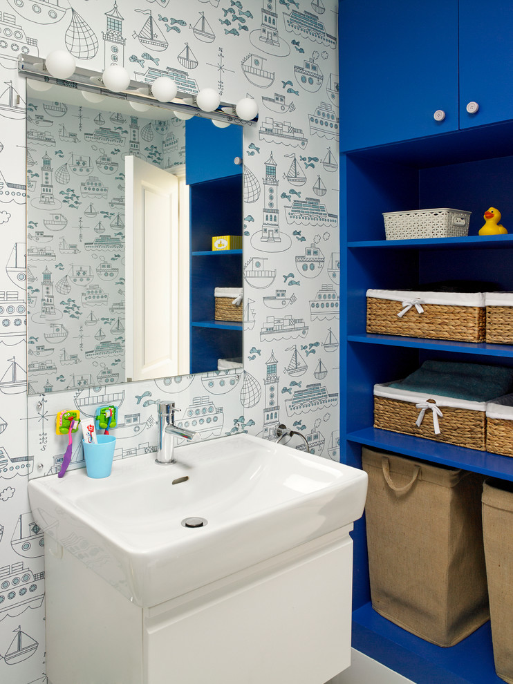 storage solution for small bathroom blue shelves mirror cute wall patterns faucet contemporary room