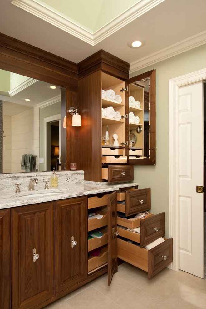 storage solution for small bathroom drawers cabinet lamps mirror sink faucet traditional room