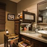 storage solution for small bathroom mirror wash basin wall decor transitional room